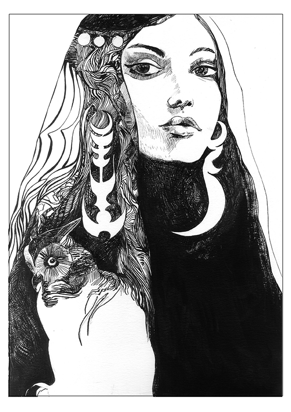 Portrait inspired in the work of Sergio Toppi
