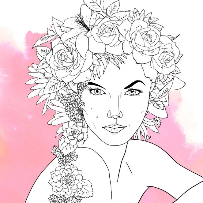 Chica con flores en la cabeza 1